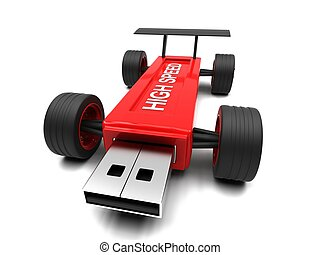 High-speed USB flash drive on a white background