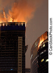 Blaze At Moscow City Skyscraper - Fire on upper two floors...