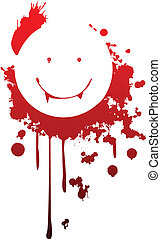Smiling vampire symbol - A happy vampire symbol made from...