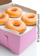 Closeup of Glazed Donuts in a Box