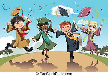 Graduation celebration - A vector illustration of students...