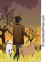 Hunter with two dogs - A vector illustration of a hunter...