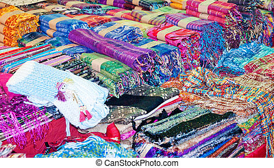scarves and fabric for sale in the market