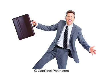 Happy businessman - Happy crazy businessman Isolated on...
