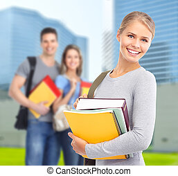 Young student woman. - Group of smiling students and girl...