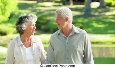 Smiling mature couple walking in front of a lake in the...