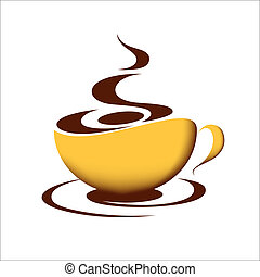 Cup of coffee - Cup of hot coffee on white background