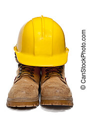 Hard Hat and Work Boots - Construction PPE - Steel toe boots...