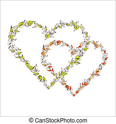 Beautiful floral hearts - Valentine heart