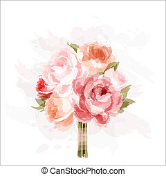Peonies - Romantic background with bouquet of peonies. All...