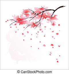 Stylized Japanese cherry tree blossom. EPS10.