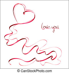 Valentines day card with ribbons on white background