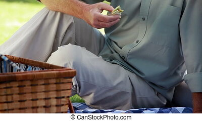 Mature couple talking to each other during a picnic in the...