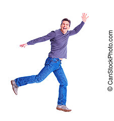 Happy running man. Isolated over white background.