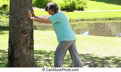 Mature woman doing fitness exercises in the countryside