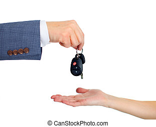 Car keys. - Hand with a Car keys. Isolated on white...