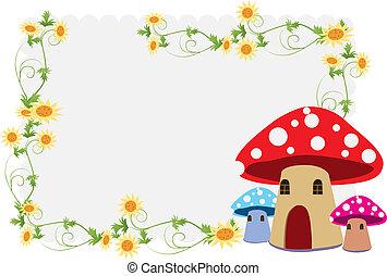 bonito, casa, flor, cogumelo