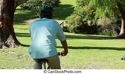 Couple spending time together while riding bikes