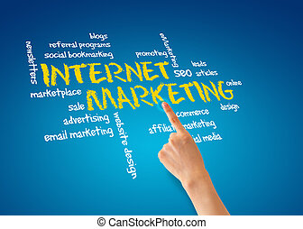 Internet Marketing - Hand pointing at an Internet Marketing...