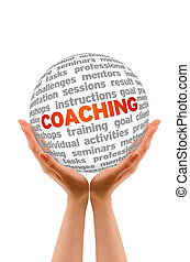 Coaching - Hands holding a 3D Coaching Sphere in white...