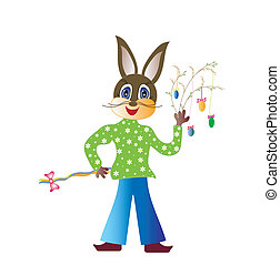 Easter theme - Easter bunny with Easter hymns, vector