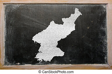 outline map of north korea on blackboard