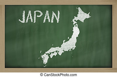 outline map of japan on blackboard
