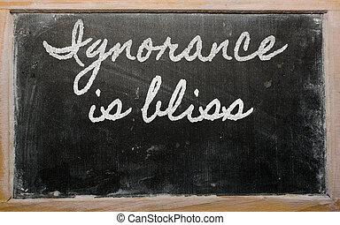 escuela, blackboar, -, ignorancia, escrito, dicha, expresión...