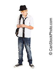 teen boy play with cell phone