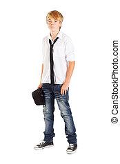 teen boy full length portrait isolated on white