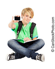 teen boy with smart phone isolated on white
