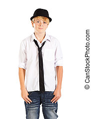 handsome teenage boy half length portrait on white
