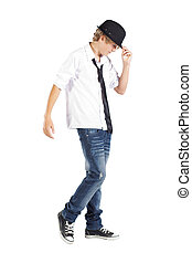 cool teen boy isolated on white background