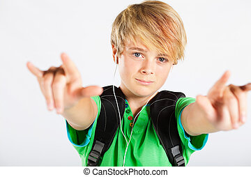 cool teenage boy with hand sign