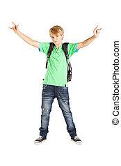 teen boy full length portrait over white background