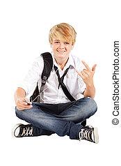 teen boy listening music