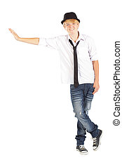 happy teen boy isolated on white