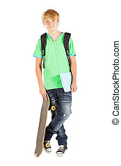 male teen student isolated on white