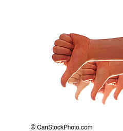 thumbs down - men's hands make thumbs down