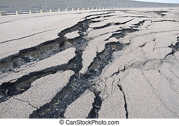 Cracked road after the disaster - Rupture of the road after...
