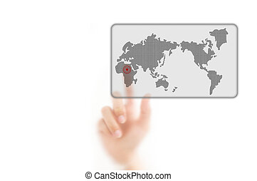 man finger pressing a worldmap touchscreen button with index finger on africa, isolated on a white background.