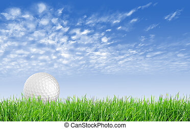 Close-up of golf ball with green grass and blue sky for web...