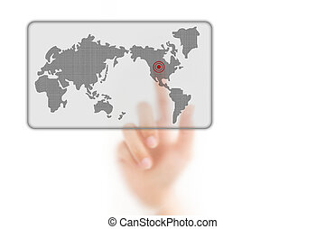 man finger pressing a worldmap touchscreen button with index finger on america, isolated on a white background.