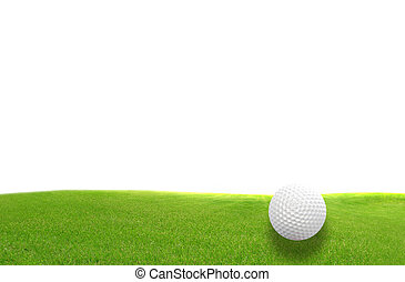 Close-up of golf ball with green grass isolated for web...