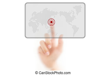 man finger pressing a worldmap touchscreen button with index finger on japan, isolated on a white background.