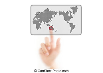 man finger pressing a worldmap touchscreen button with index finger on ocenia, isolated on a white background.
