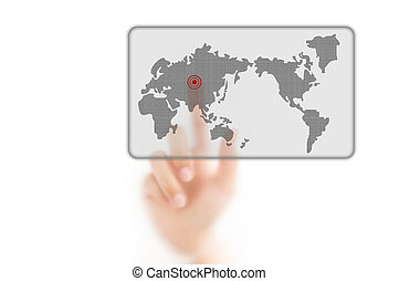 man finger pressing a worldmap touchscreen button with index finger on asia, isolated on a white background.