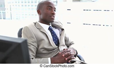 Black businessman resting