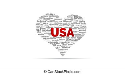 I Love USA - Spinning I Love USA Heart