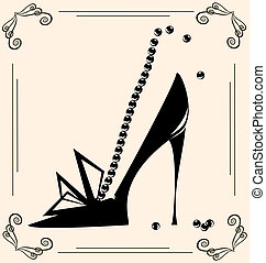 vintage womans shoe - on vintage background are black...